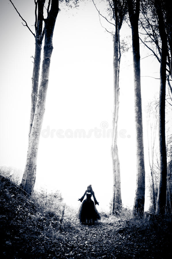 Mulher do pesadelo no vestido preto foto de stock