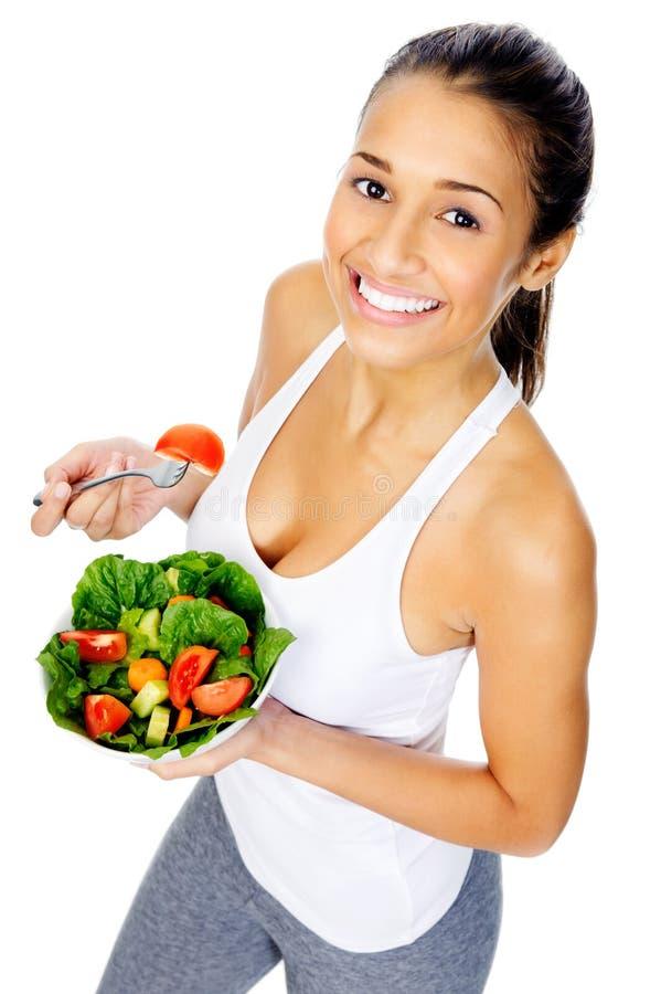 Mulher do petisco da salada foto de stock royalty free