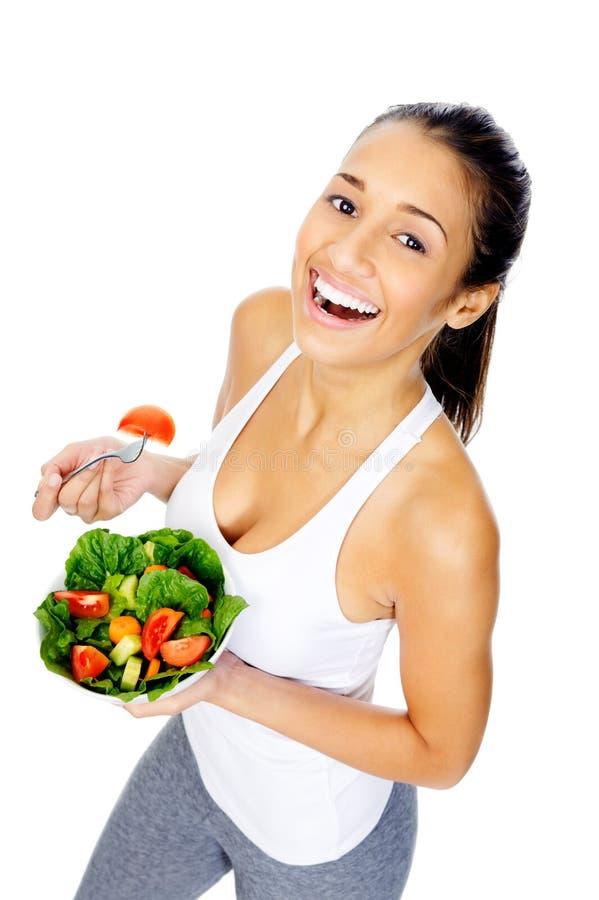 Mulher do petisco da salada imagens de stock royalty free