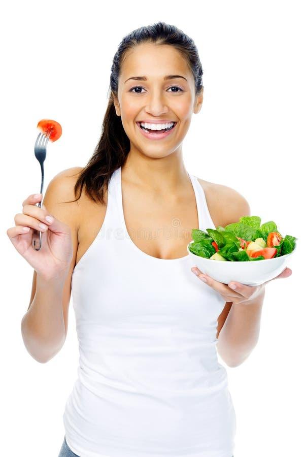 Mulher do petisco da salada imagens de stock