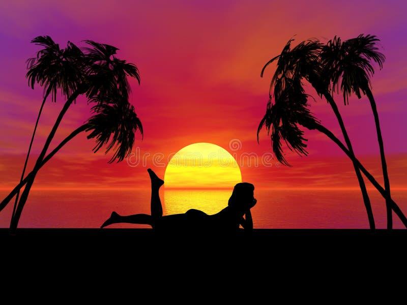 Mulher do por do sol foto de stock royalty free