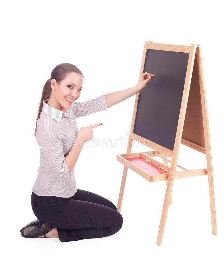 Mulher do professor com quadro-negro fotografia de stock royalty free