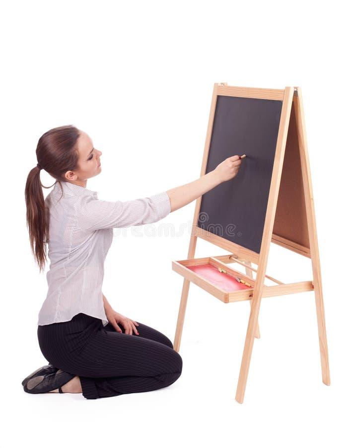 Mulher do professor com quadro-negro pequeno imagens de stock royalty free
