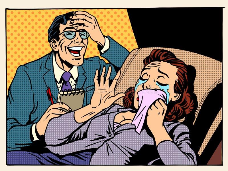 A mulher do psicólogo rasga o riso ilustração royalty free