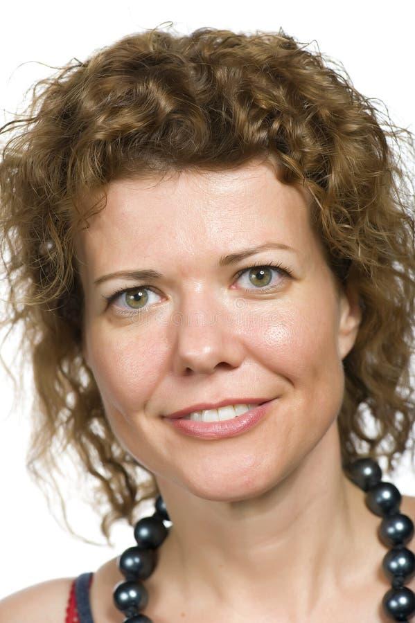 Mulher do retrato no fundo branco fotografia de stock