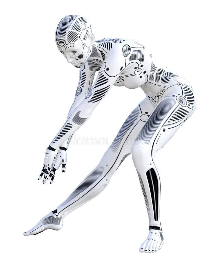 Mulher do robô da dança ilustração royalty free
