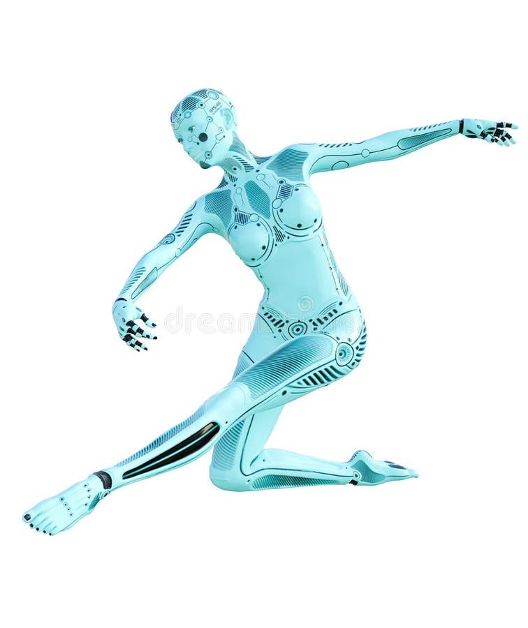 Mulher do robô da dança ilustração do vetor