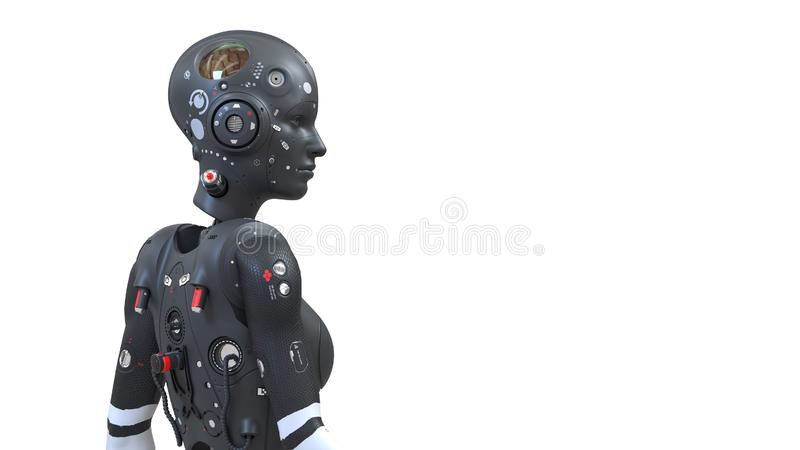 Mulher do robô, mundo digital da mulher da ficção científica do futuro de redes neurais ilustração royalty free