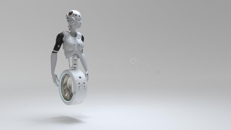 Mulher do robô, mundo digital da mulher da ficção científica do futuro ilustração royalty free