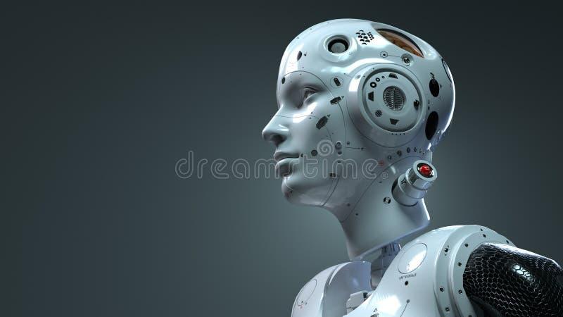 Mulher do rob?, mundo digital da mulher da fic??o cient?fica do futuro de redes neurais e o artificial fotografia de stock