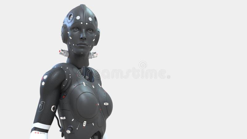 Mulher do rob?, mundo digital da mulher da fic??o cient?fica do futuro de redes neurais e o artificial ilustração royalty free