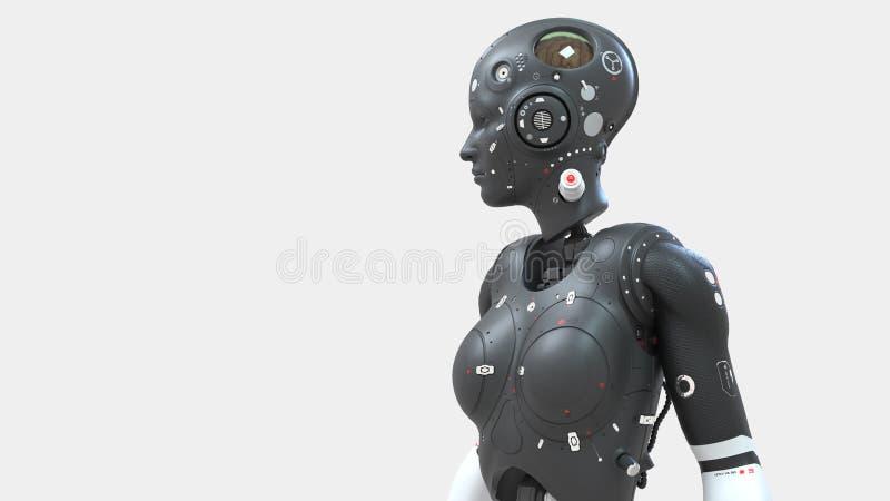 Mulher do rob?, mundo digital da mulher da fic??o cient?fica do futuro de redes neurais e o artificial ilustração stock