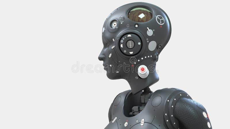 Mulher do rob?, mundo digital da mulher da fic??o cient?fica do futuro de redes neurais e o artificial ilustração do vetor