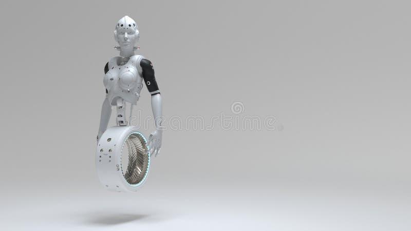 Mulher do rob?, mundo digital da mulher da fic??o cient?fica do futuro ilustração royalty free