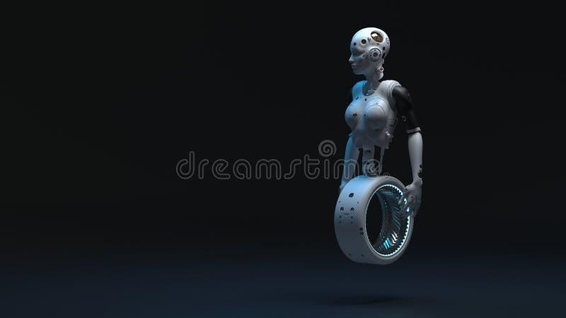 Mulher do rob?, mundo digital da mulher da fic??o cient?fica do futuro ilustração do vetor
