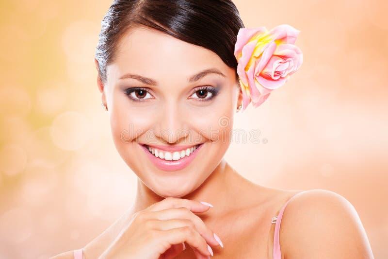 Mulher do smiley fotografia de stock