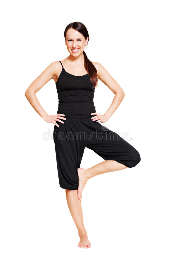 Mulher do smiley no asana foto de stock royalty free