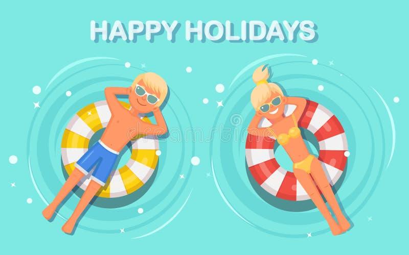 Mulher do sorriso, nadadas do homem, bronzeando-se no colchão de ar na piscina Menina que flutua no brinquedo com a bola isolada  ilustração royalty free