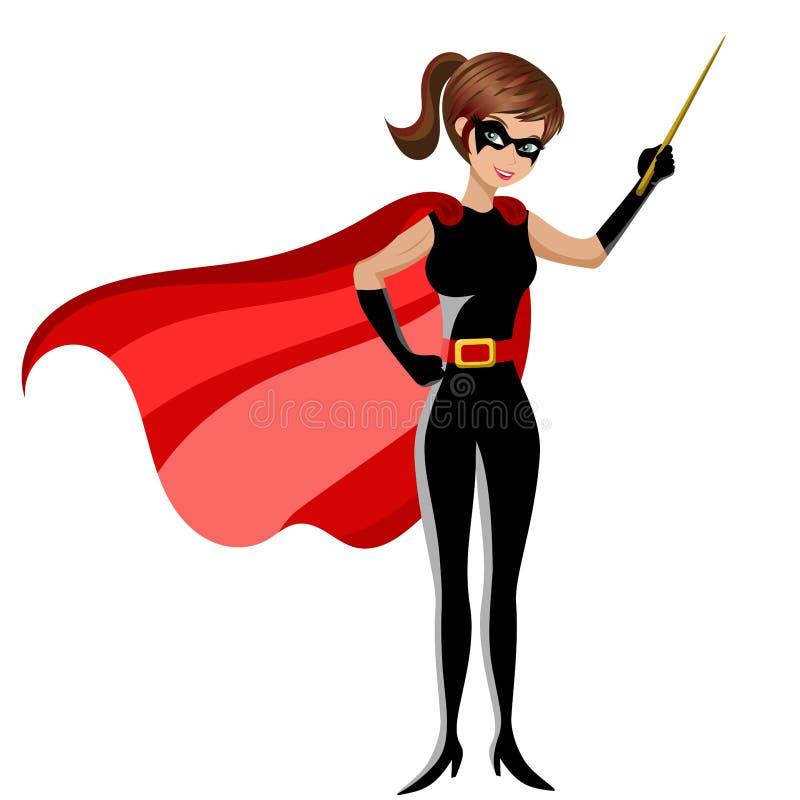 Mulher do super-herói que mantém o ensino da vara isolado ilustração stock