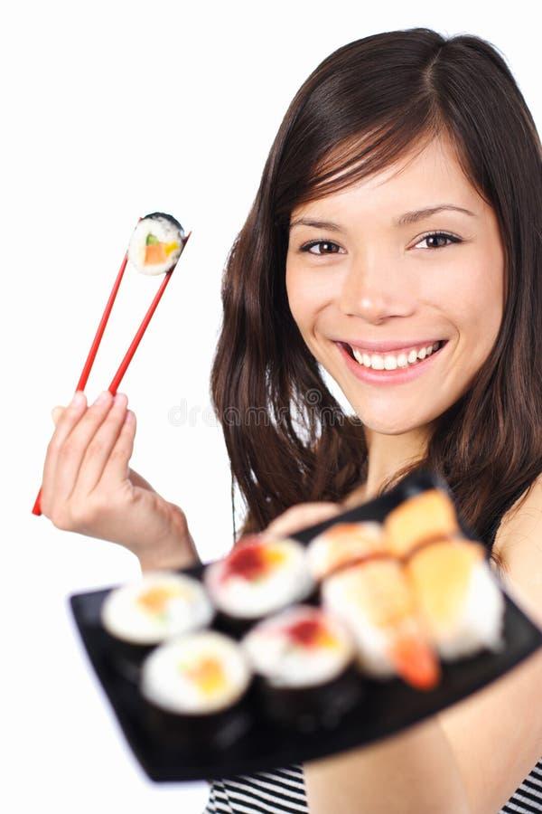 Mulher do sushi imagens de stock