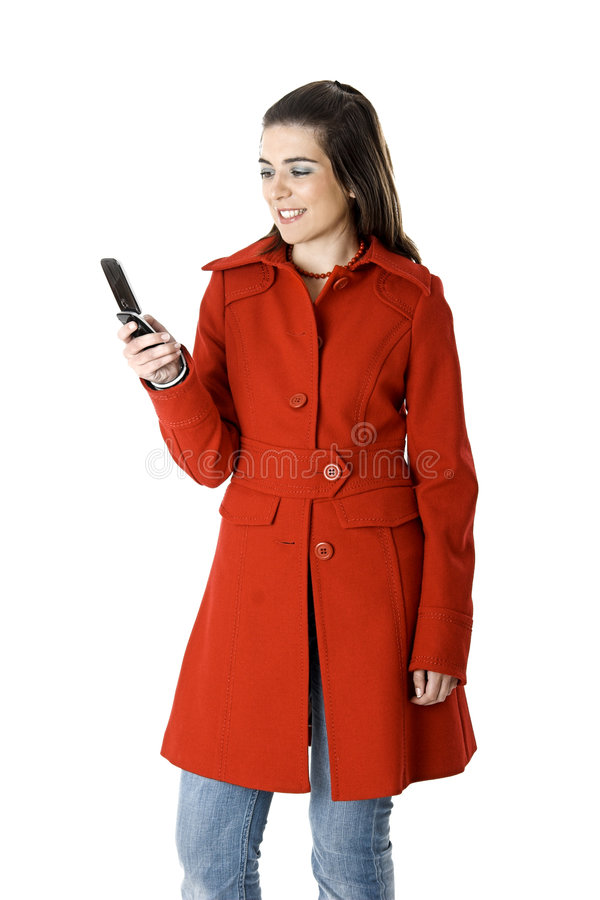Mulher do telemóvel foto de stock