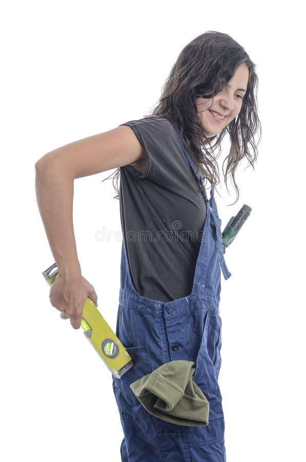 A mulher do trabalhador faz um tolo do senhor mesmo fotografia de stock