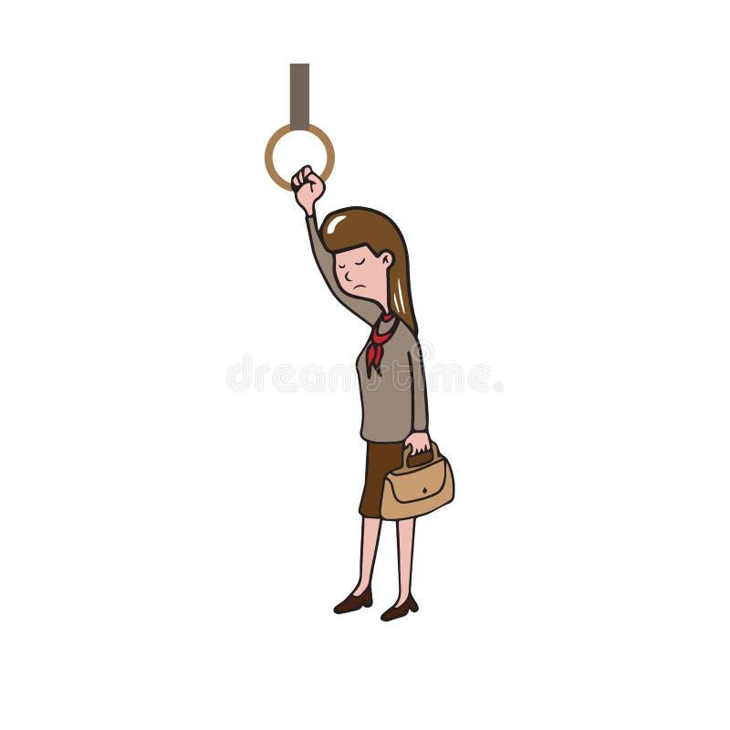 Mulher do transporte no metro ilustração do vetor