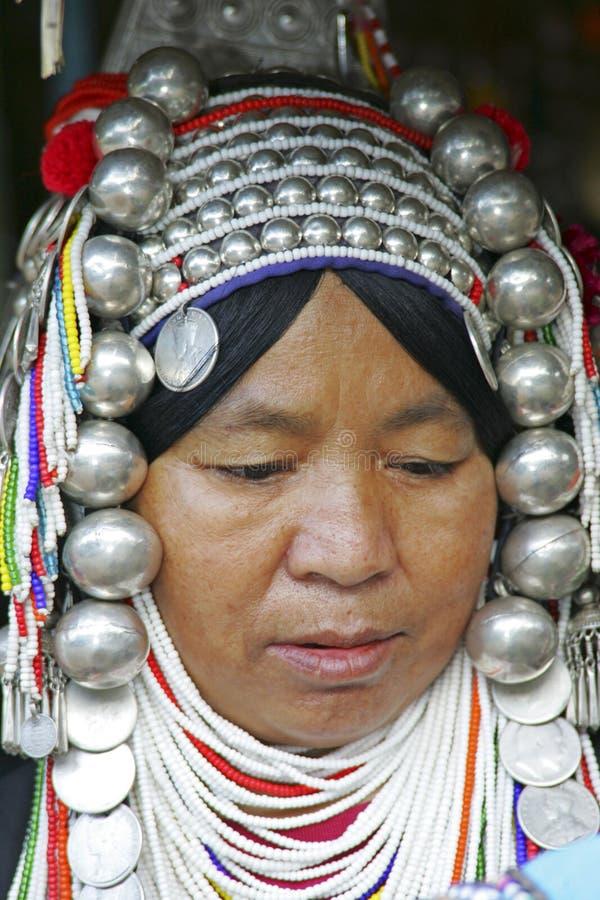 Mulher do tribo de Akha, Tailândia foto de stock
