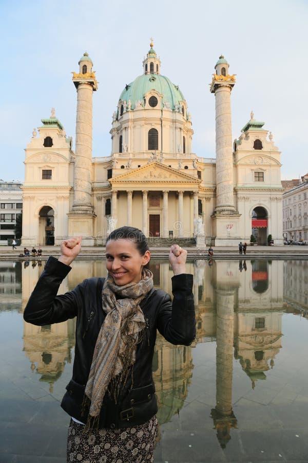 Mulher do turista de Áustria imagem de stock royalty free