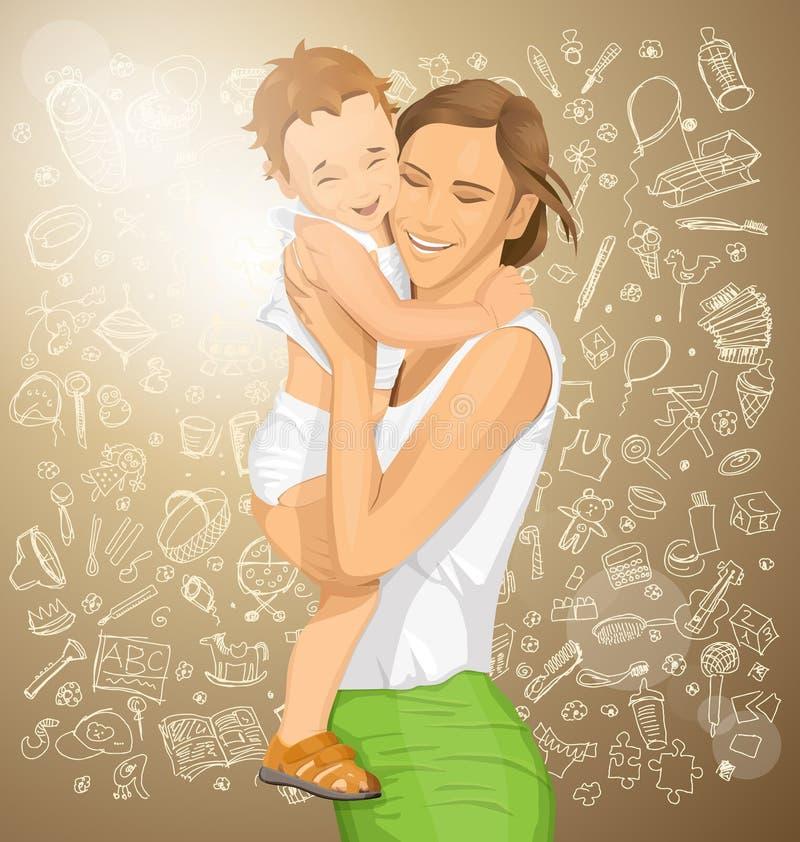 Mulher do vetor com criança ilustração do vetor