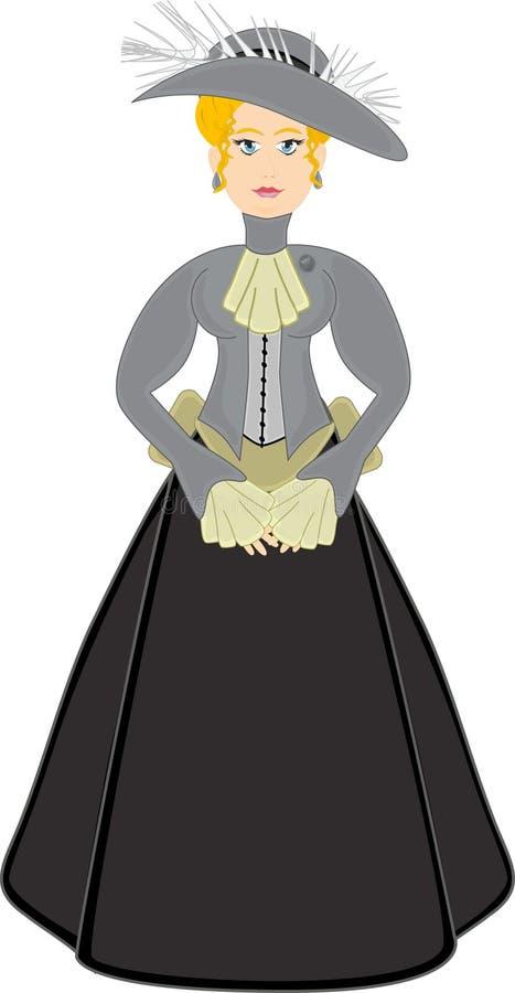 Mulher do Victorian no cinza com chapéu ilustração stock