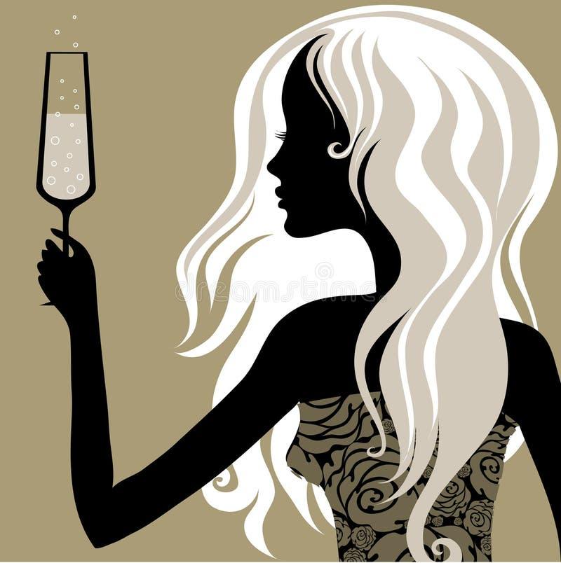 Mulher do vintage com vidro do champanhe ilustração do vetor