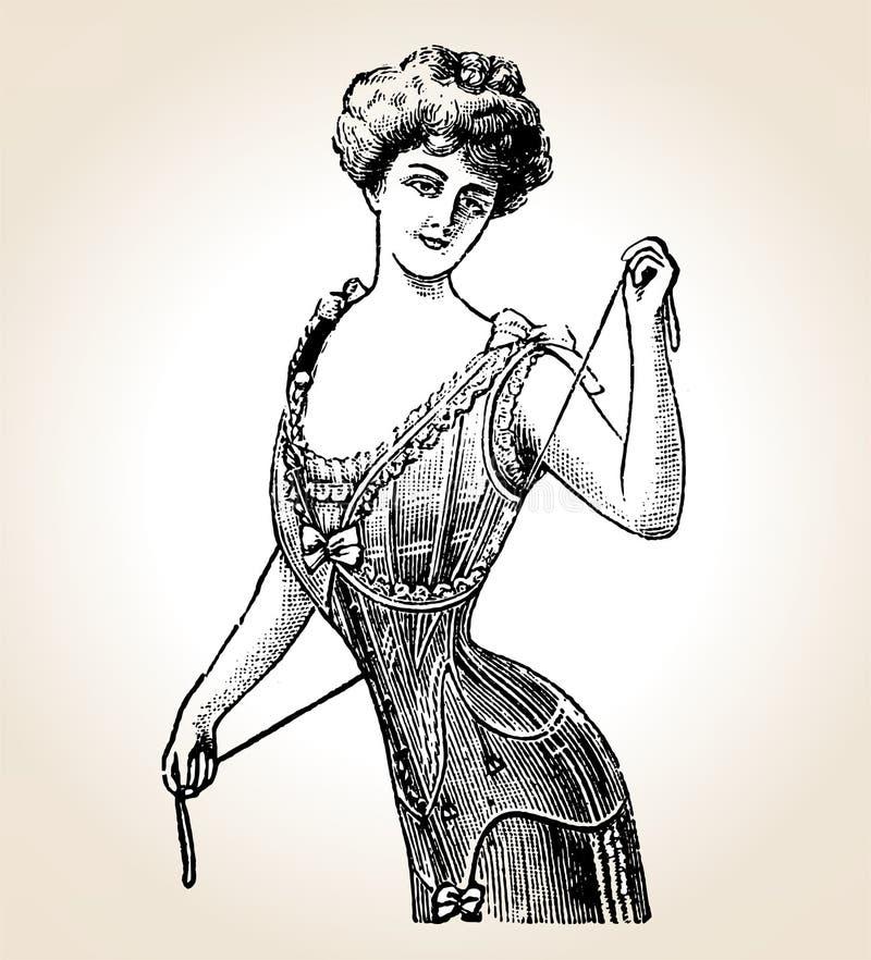 Mulher do vintage do vetor ilustração do vetor