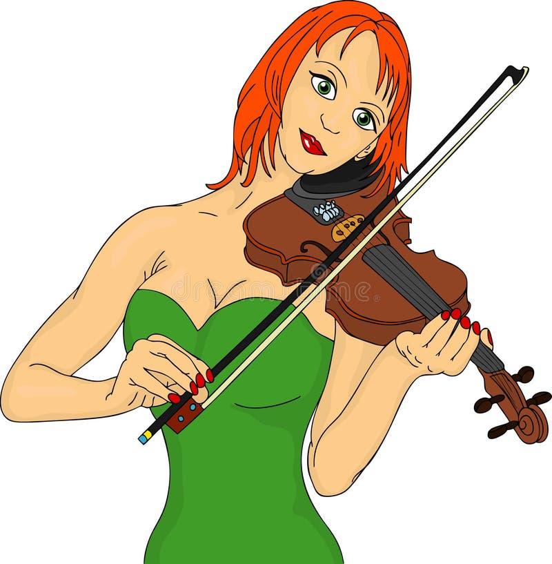 Mulher do violino ilustração do vetor