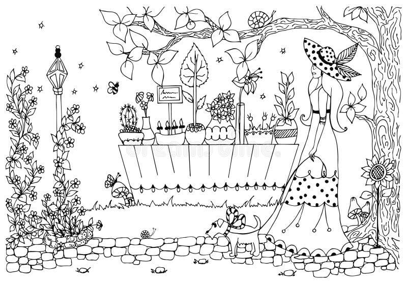 Mulher do zentangle da ilustração do vetor com cão Senhora para uma caminhada, florista Flores da garatuja Anti-esforço Rua do pa ilustração royalty free