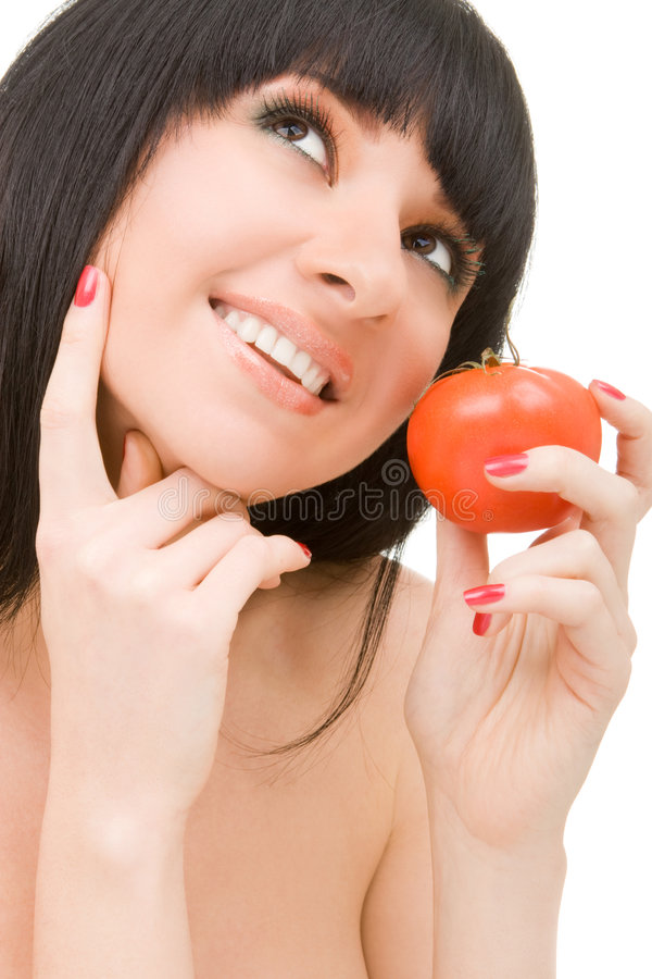 Mulher doce com tomate fotos de stock royalty free