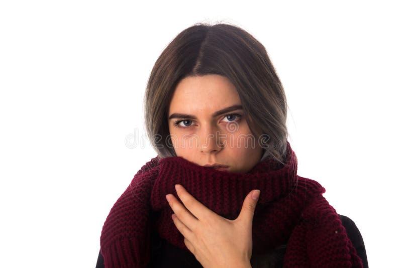 Mulher doente com lenço vinous fotografia de stock