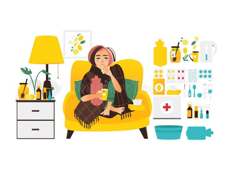 Mulher doente e grupo grande de elementos do tratamento da gripe ilustração royalty free
