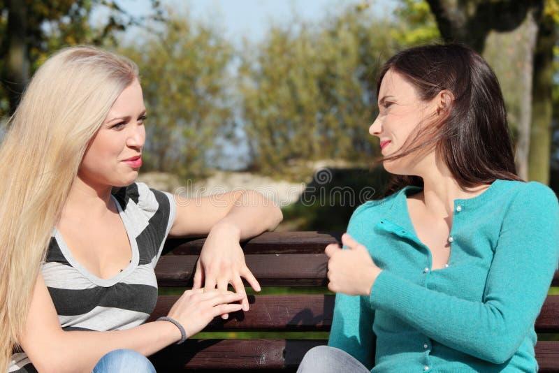 Mulher dois no parque imagem de stock