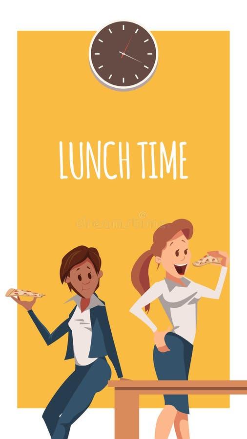 A mulher dois tem a pizza para o almoço na bandeira do escritório ilustração royalty free