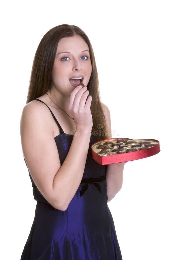 Mulher dos chocolates imagens de stock