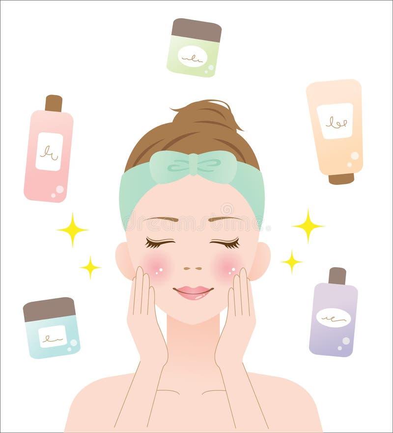 Mulher dos cuidados com a pele ilustração stock