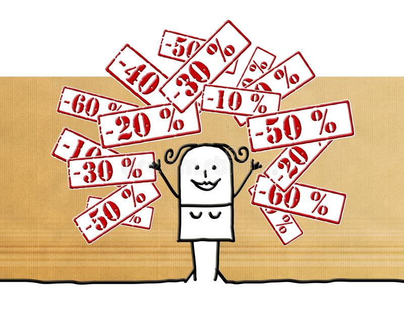 Mulher dos desenhos animados com etiquetas de fixação do preço do disconto ilustração royalty free