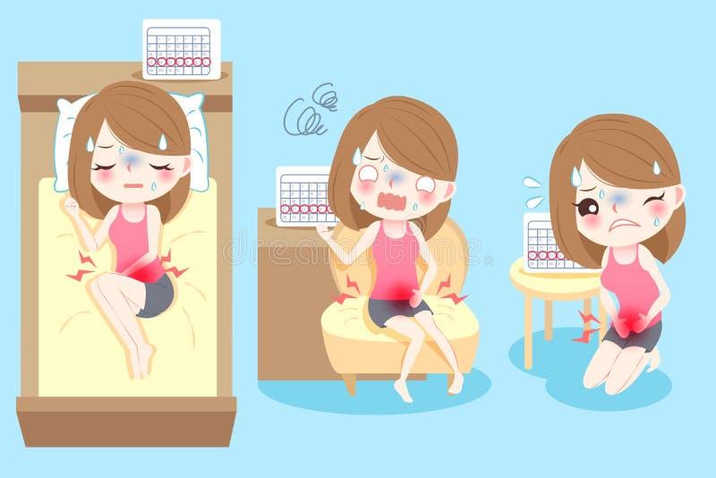 Mulher dos desenhos animados com menstruação ilustração royalty free