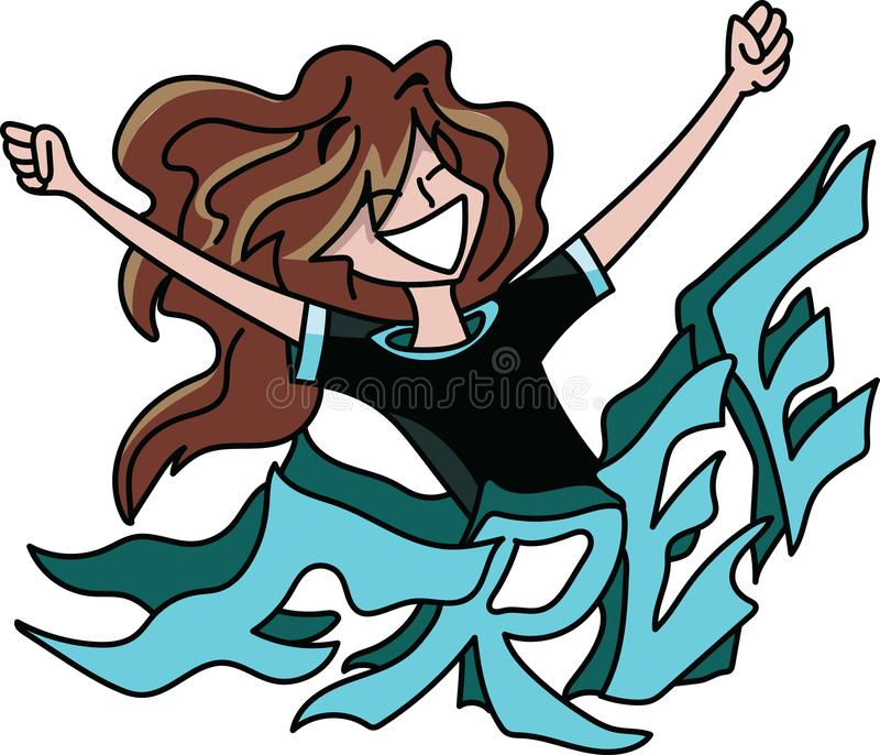 Mulher dos desenhos animados com o cabelo longo que está atrás de um texto livre com seus braços largamente abertos, sentindo  ilustração royalty free