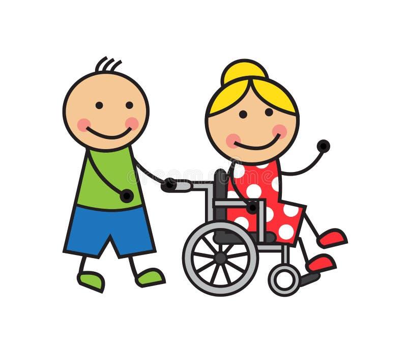 Mulher dos desenhos animados em uma cadeira de rodas ilustração royalty free