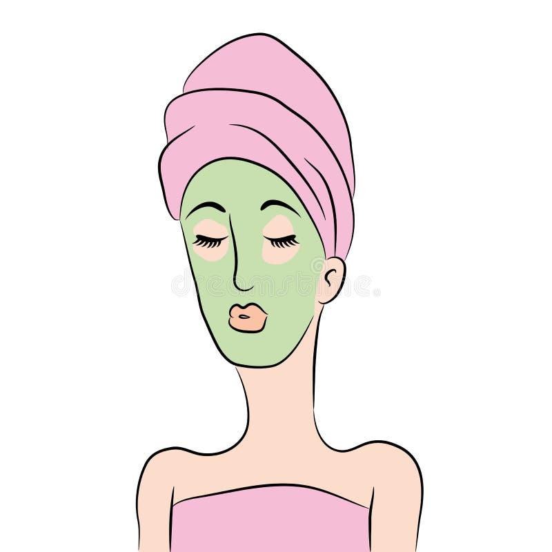 Mulher dos desenhos animados que obtém o tratamento facial ilustração royalty free