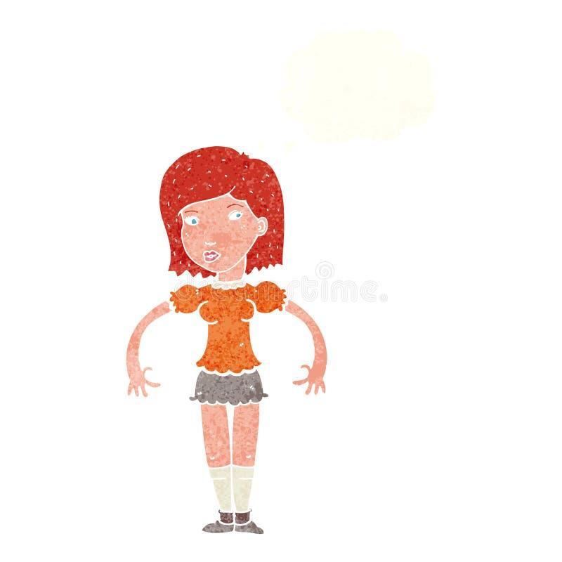 mulher dos desenhos animados que olha lateralmente com bolha do pensamento ilustração stock