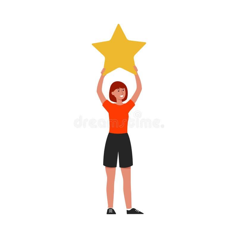 Mulher dos desenhos animados que sustenta uma estrela amarela ilustração royalty free