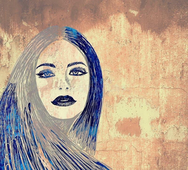 Mulher dos grafittis na parede ilustração royalty free